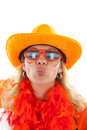 Female Dutch soccer supporter gives a kiss Stock Image