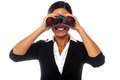 Female executive eyeing on you corporate woman looking at through binoculars Stock Photos