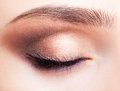 Female eye zone and brows with day makeup closeup shot of closed Stock Images