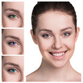 Female eyes in color contact lenses Royalty Free Stock Photo