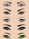 Female eyes set Stock Photography