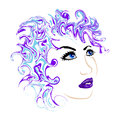 Female face with blue lips vector
