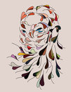 Female face drawn from colorful flying leaves Stock Images