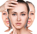Female face before and after facial rejuvenation Royalty Free Stock Photo