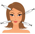Female face with injections Royalty Free Stock Images