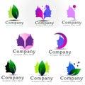 Female face logo set illustration representing on white background Stock Images