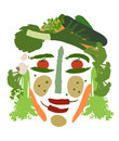 Female face made of vegetables isolated human composed different kinds Royalty Free Stock Photo