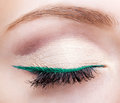 Female face makeup with closed eye and green eyeliner Royalty Free Stock Photo