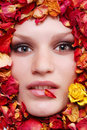 Female face with roses Royalty Free Stock Photos