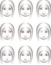 Female face vector illustration set of womans facial expressions Stock Photo