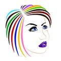 Female face on white background vector illustration