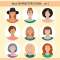 Female faces avatars, character icons for your site