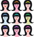 Female faces/emotions/eps Stock Photo