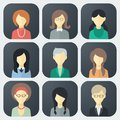 Female faces icons set colorful app in trendy flat style Royalty Free Stock Photo