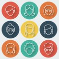 Female faces icons set colorful circle in simple line style with long shadows Royalty Free Stock Photos