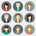 Female faces icons set colorful circle in trendy flat style Royalty Free Stock Photography