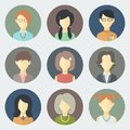Female faces icons set colorful circle in trendy flat style Stock Photography