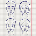 Female faces on notebook page