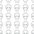 Female faces seamless pattern