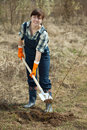 Female farmer  planting   shrubbery Stock Photos