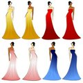 Female Fashion Models Gowns Royalty Free Stock Photography