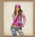 Female fashion. Watercolor sketch. Royalty Free Stock Image