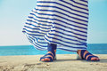 Female feet in billowing dress Royalty Free Stock Photo