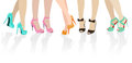 Female feet in different shoes colour Royalty Free Stock Images