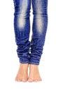 Female feet in jeans