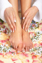 Female feet massage Stock Photography