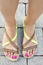 Female feet in sandals Royalty Free Stock Photo