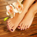 Female feet at spa salon on pedicure procedure closeup photo of a soft focus image Royalty Free Stock Photos