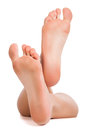 Female feet  on white Royalty Free Stock Photography