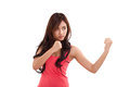 Female fighter boxer punching portrait of pose Royalty Free Stock Image