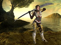 A female fighter with a sword and fantasy background Stock Photo