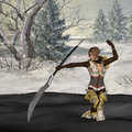 A female fighter with a sword and fantasy snow background Royalty Free Stock Image