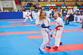 Female fighters compete in fight moscow jun at th team championship of europe on karate at olympi comlex luzhniki small sports Royalty Free Stock Photos