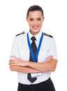 Female first officer beautiful airline with arms crossed Royalty Free Stock Photos