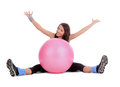 Female with fitness ball in stretching attractive young over white Royalty Free Stock Image