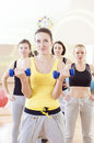Female Fitness Teamwork Concepts. Group of Four Athletes Exercis Royalty Free Stock Photo