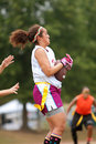 Female Flag Football Player Catches Pass Stock Photos