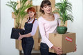 Female flatmates carrying cardboard boxes and plants Royalty Free Stock Photography