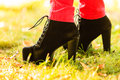 Female foot in elegant black shoes. Royalty Free Stock Photo