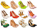 Female footwear collection on white background Stock Image