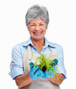 Female gardener holding a plant in her hand Stock Photography