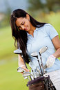 Female golf player Stock Photo