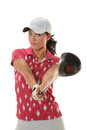 Female golfer with driver portrait of showing isolated over white background Royalty Free Stock Photos