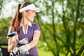Female golfer gorgeous lady with golf equipment Royalty Free Stock Photo