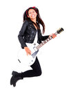 Female guitar player Stock Photo
