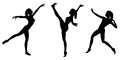 Female gymnast silhouettes silhouette illustrations of a with a ponytail in various poses on a white background Royalty Free Stock Images